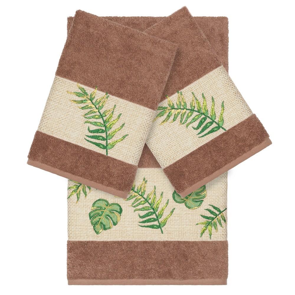 Zoe Embellished Bath Towel Set Light Brown Linum Home Textiles
