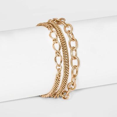 3 Strand Magnetic Worn Gold Chain Bracelet - Universal Thread™ Gold