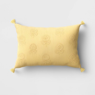 """12""""x18"""" Embroidered Floral Lumbar Throw Pillow with Tassels Yellow - Threshold™"""