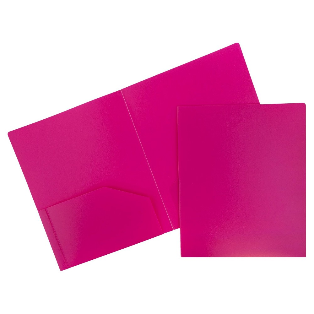 Image of 6pk 2 Pocket Heavy Duty Plastic Folder Fuchsia - JAM Paper, Pink