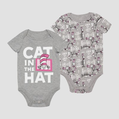Baby Boys' Dr. Seuss Cat in the Hat Short Sleeve Bodysuit - Gray 3-6M
