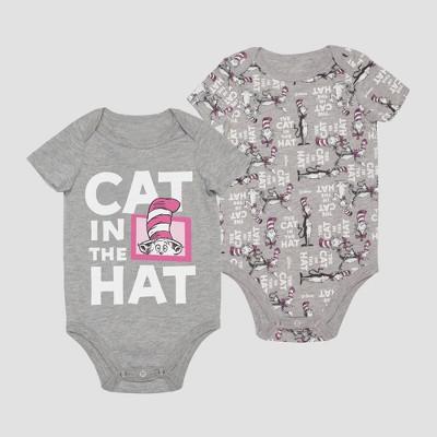 Baby Boys' Dr. Seuss Cat in the Hat Short Sleeve Bodysuit - Gray 6-9M