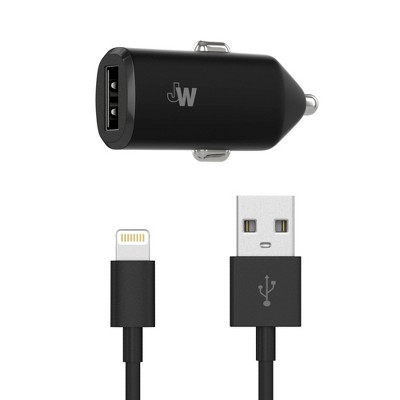 Just Wireless Single USB 2.4A Car Charger (with Apple Lightning Cable) - Black