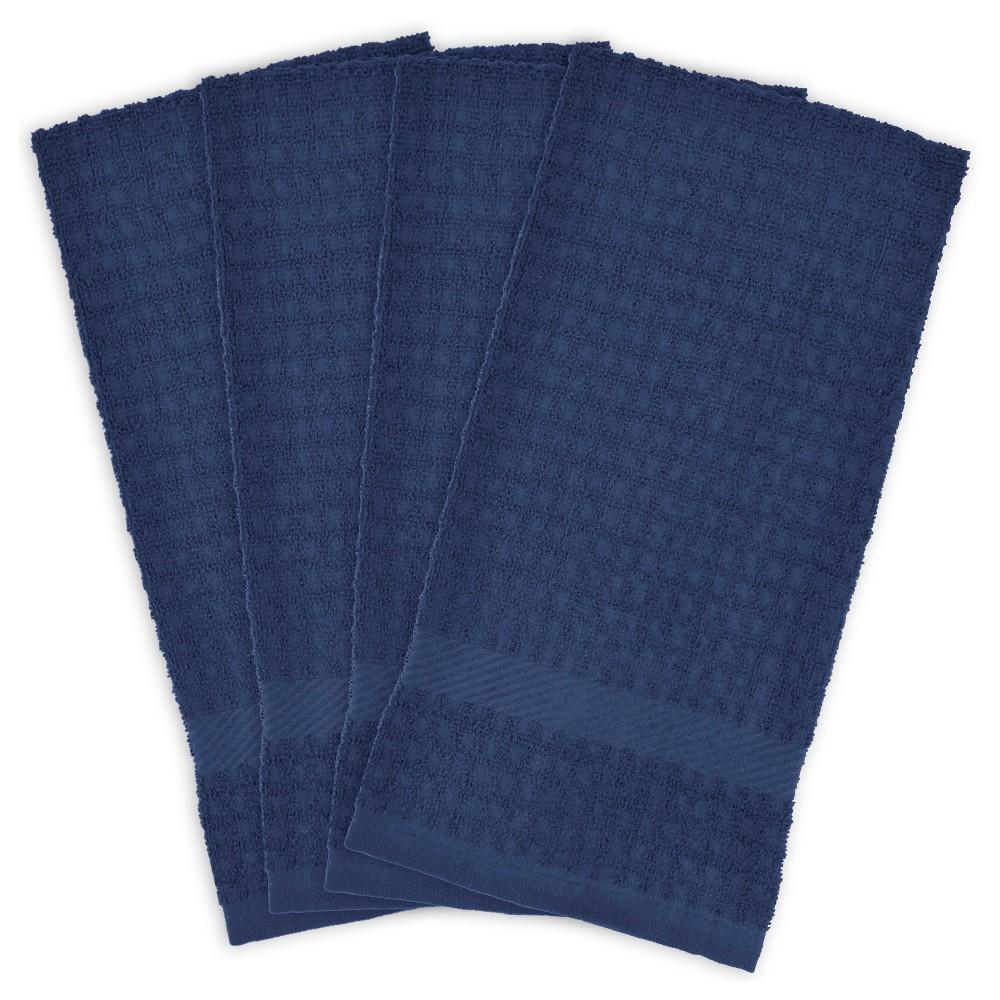4pk Solid Waffle Kitchen Towels Nautical Design Imports