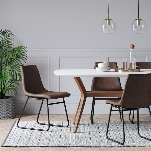 Bowden Faux Leather And Metal Dining Chair