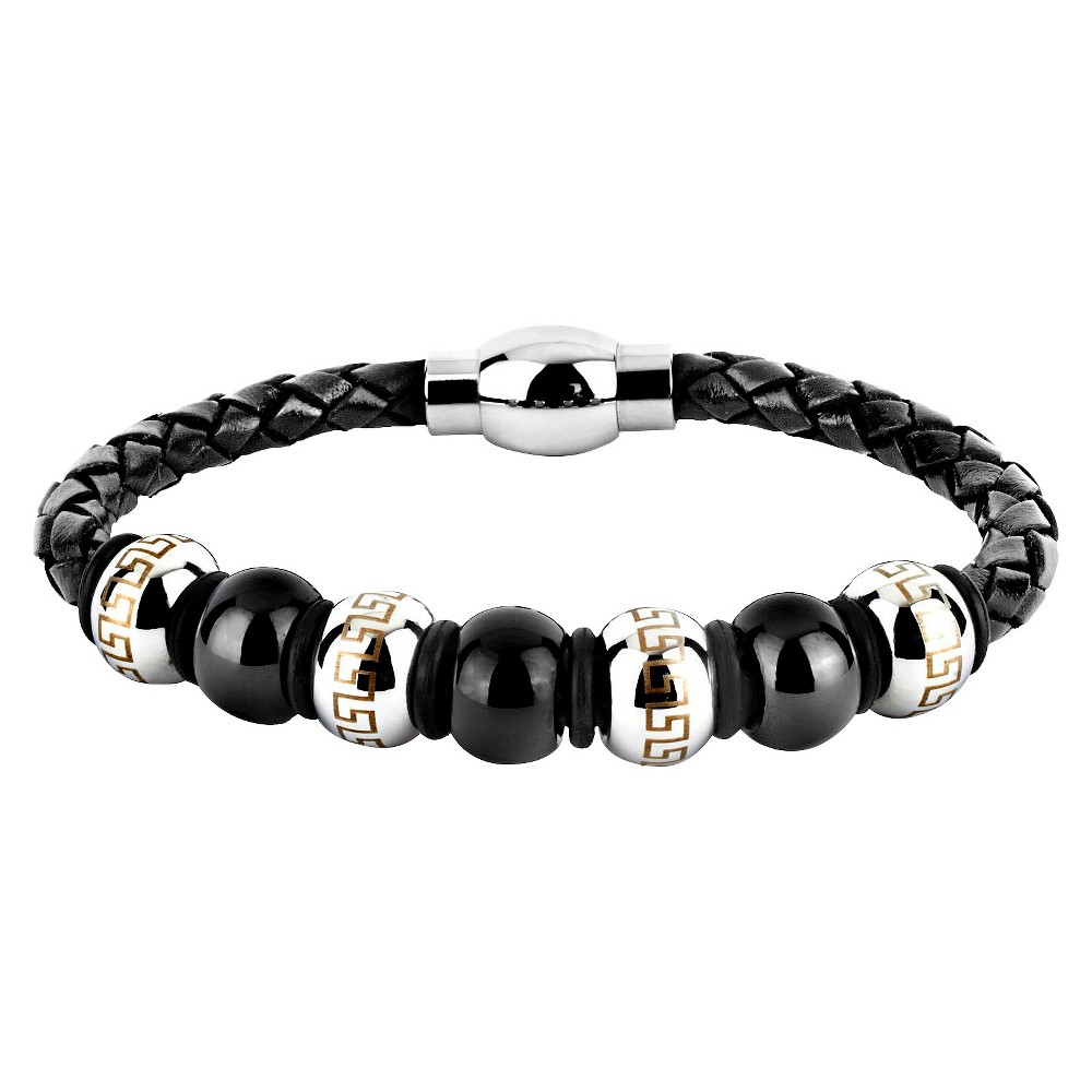 Men's Crucible Stainless Steel and Leather Bead Maze Bracelet - Black