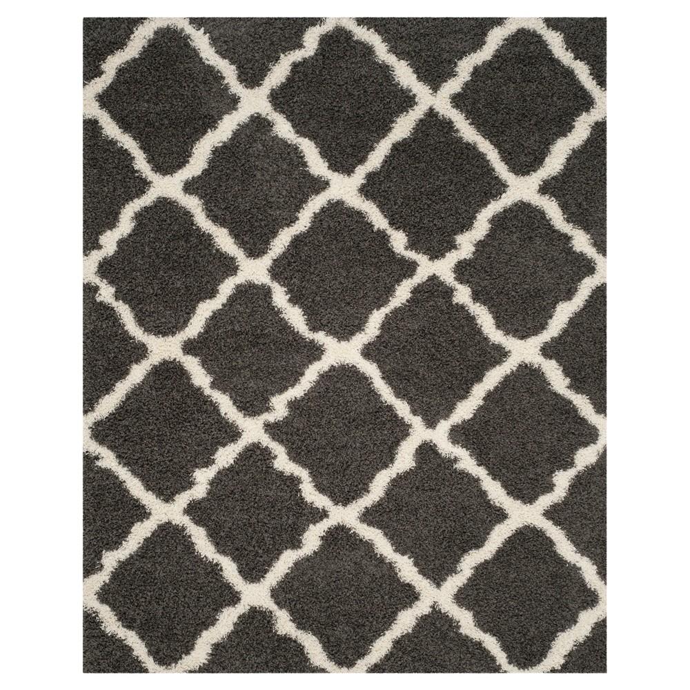 Dark Gray Ivory Geometric Shag Flokati Loomed Area Rug 8 39 X10 39 Safavieh
