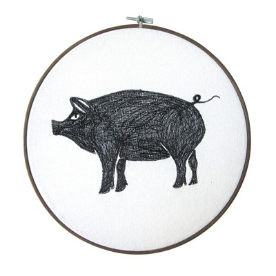 Pig Embroidery Hoop Decorative Wall Sculpture Gray - Threshold™