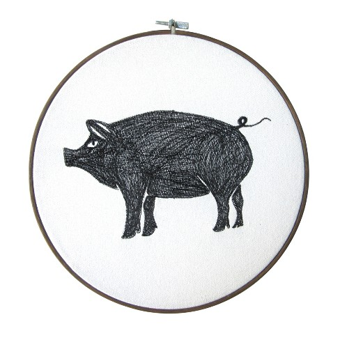 Pig Embroidery Hoop Decorative Wall Sculpture Gray - Threshold™ - image 1 of 1