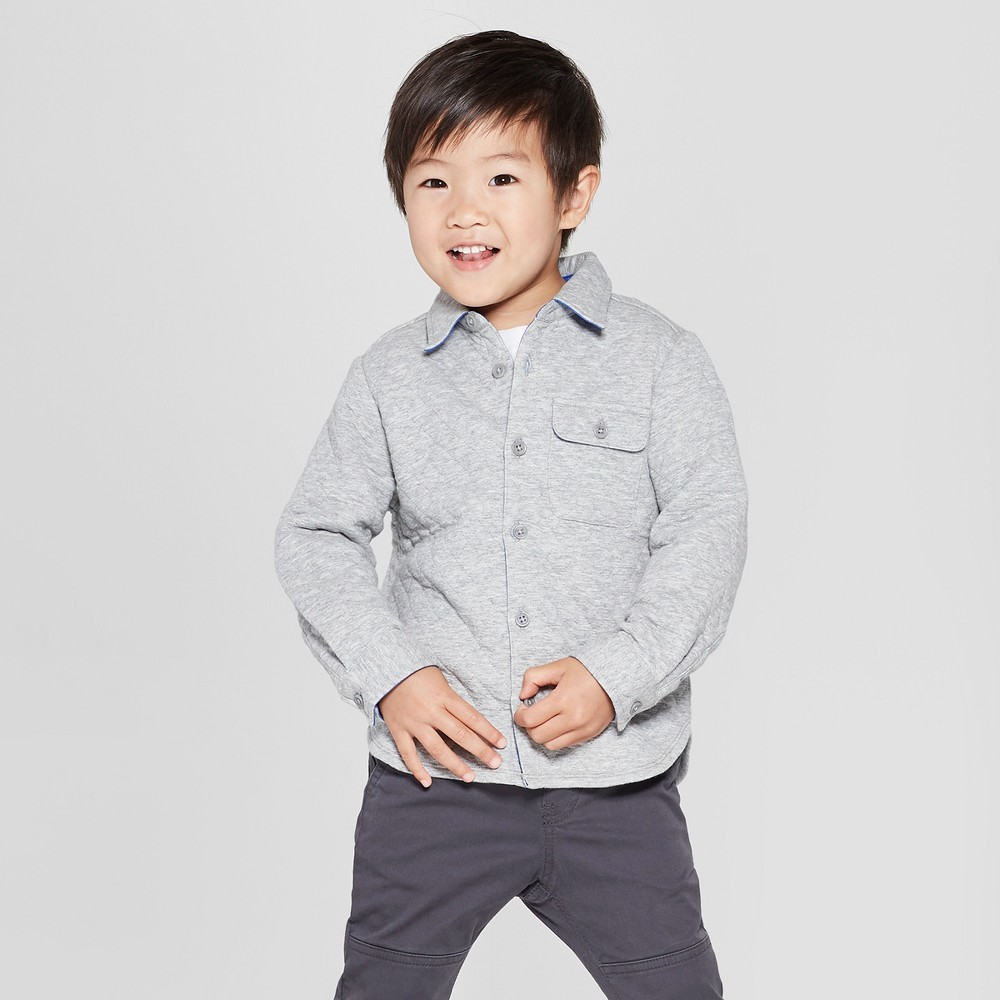 Toddler Boys' Quilted Long Sleeve Button-Down Shirt - Cat & Jack Gray 3T