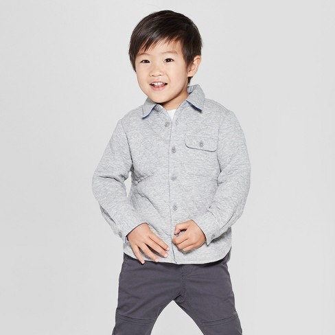 7ce23bd0 Toddler Boys' Quilted Long Sleeve Button-Down Shirt - Cat & Jack™ Gray :  Target