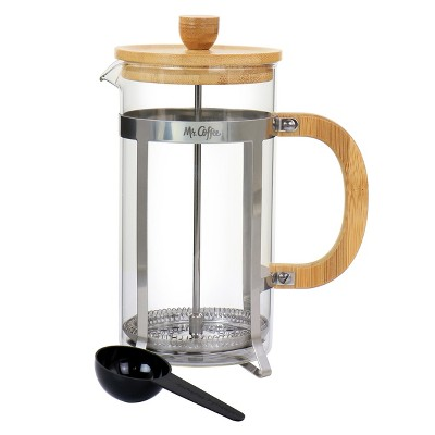 Mr. Coffee Cafe Bambu 33 Ounce Glass French Coffee Press with Bamboo Handles