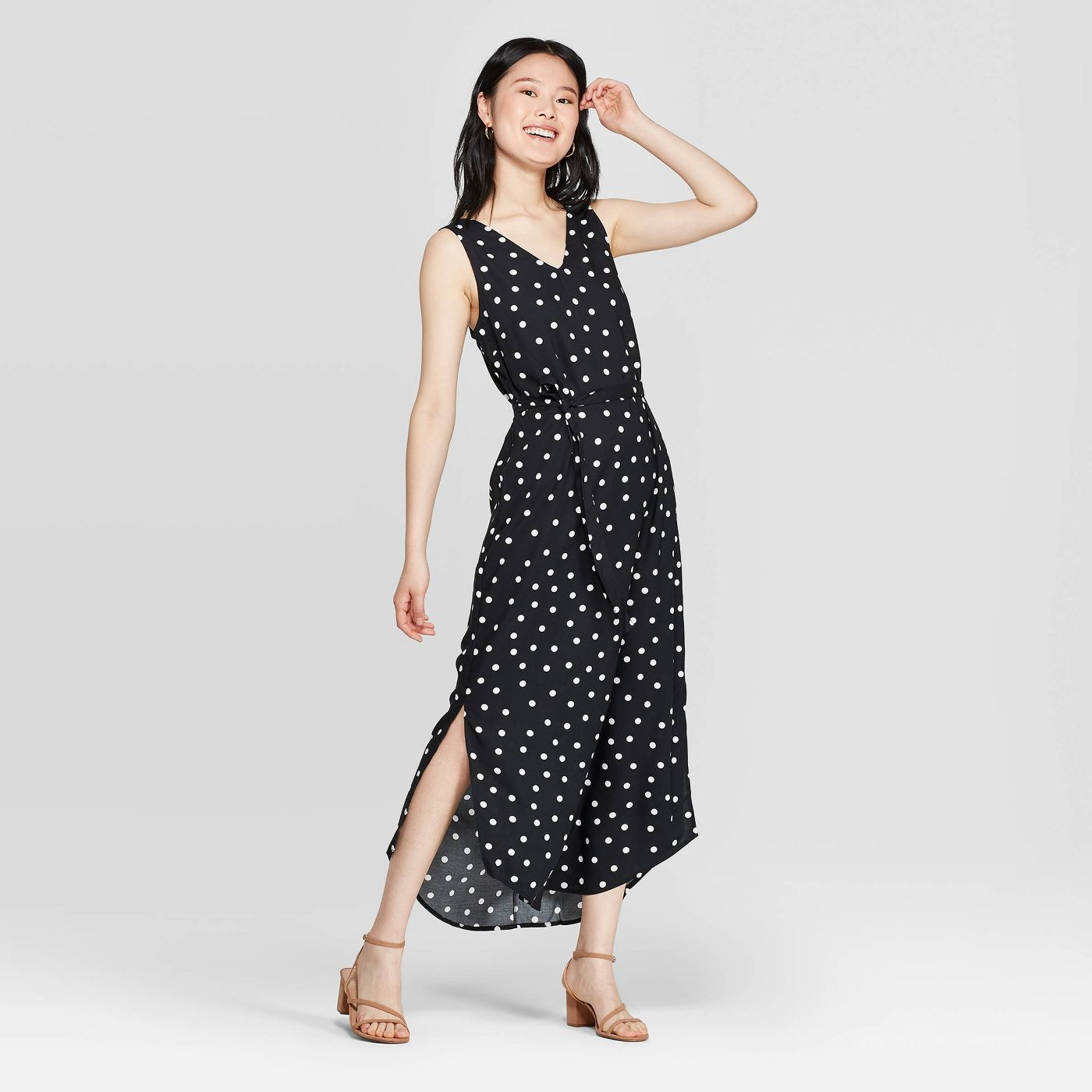 Women's Polka Dot Sleeveless V-Neck Maxi Dress - A New Day™ Black/White - image 1 of 3