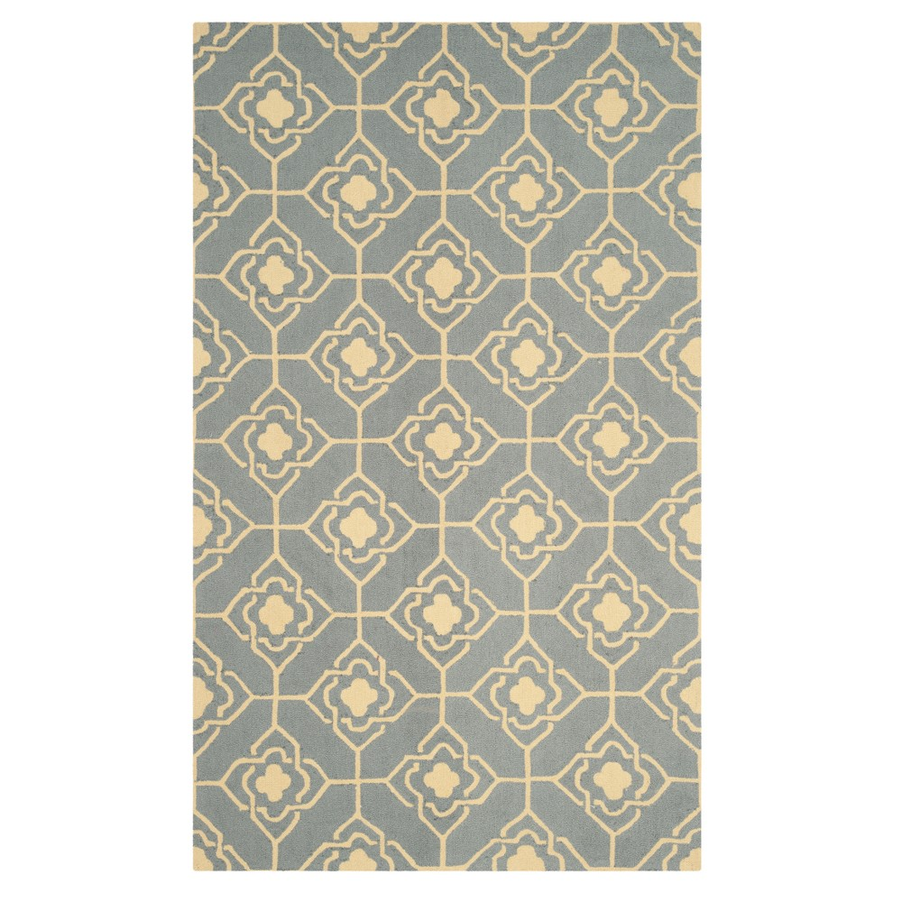 Gray Gold Geometric Hooked Accent Rug 3'6