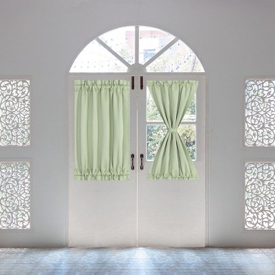 2 Pcs Solid Thermal Insulated Blackout Door Curtain Panels - PiccoCasa
