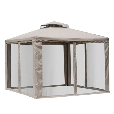 Outsunny 10' x 10' Pop Up Patio Gazebo Cabana with 2-Tier Weather-Resistant Roof, Mesh Wall, & Steel Frame