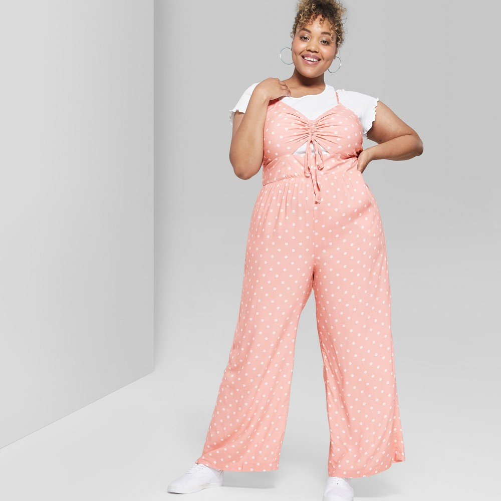 Women's Polka Dot Plus Size Strappy Ruched Front Cutout Jumpsuit - Wild Fable Light Pink 2X