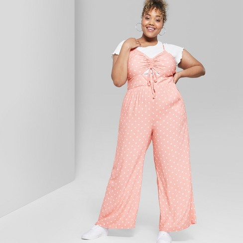 ba39bc3836c Women s Polka Dot Plus Size Strappy Ruched Front Cutout Jumpsuit - Wild  Fable™ Light Pink
