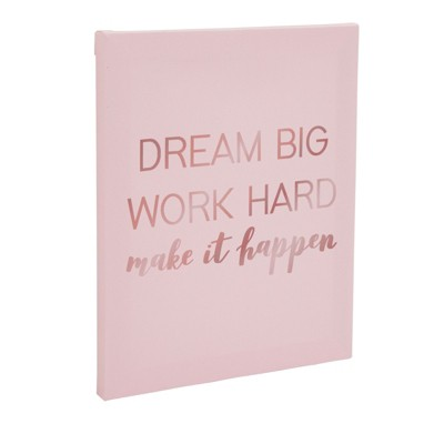 Juvale Motivational Canvas Wall Art, Inspirational Quotes Rose Gold Home Decor (8 x 10 in)