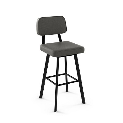 """26.75"""" Amisco Clarkson Counter Height Barstool with Gray Upholstered Seat Black Metal"""