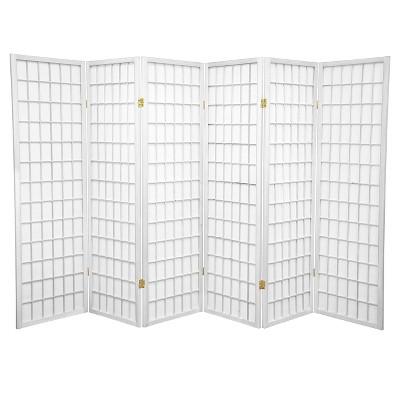 5 ft. Tall Window Pane Shoji Screen - White (6 Panels)