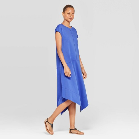 Women's Short Sleeve Scoop Neck Asymmetric Knit Dress Midi Shirtdress - Prologue™ Cobalt - image 1 of 3