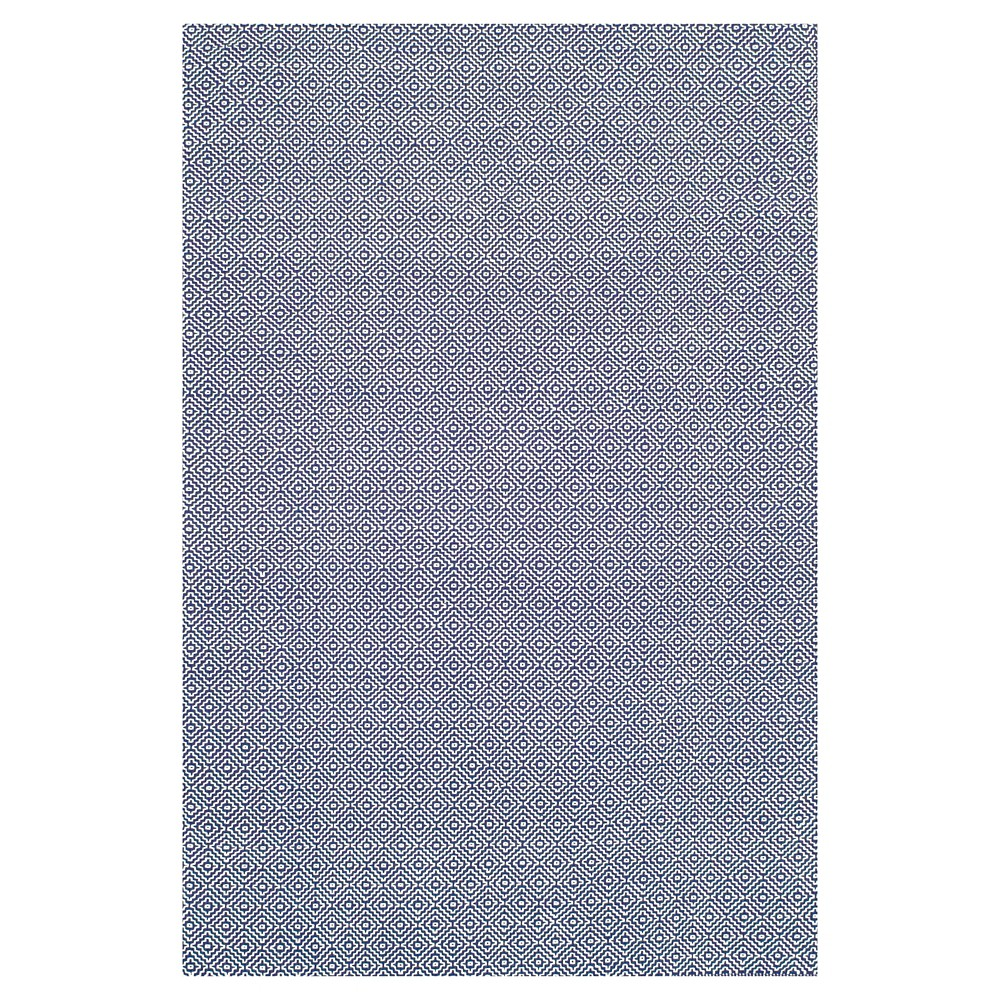 nuLOOM Cotton Hand Loomed Diamond Cotton Check Area Rug - Blue (5' x 8')