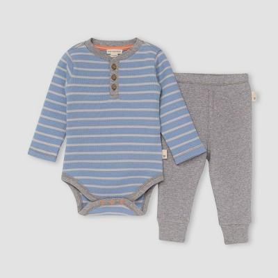 Burt's Bees Baby® Baby Boys' Thermal Striped Bodysuit & Pants Set - Sky Blue 0-3M