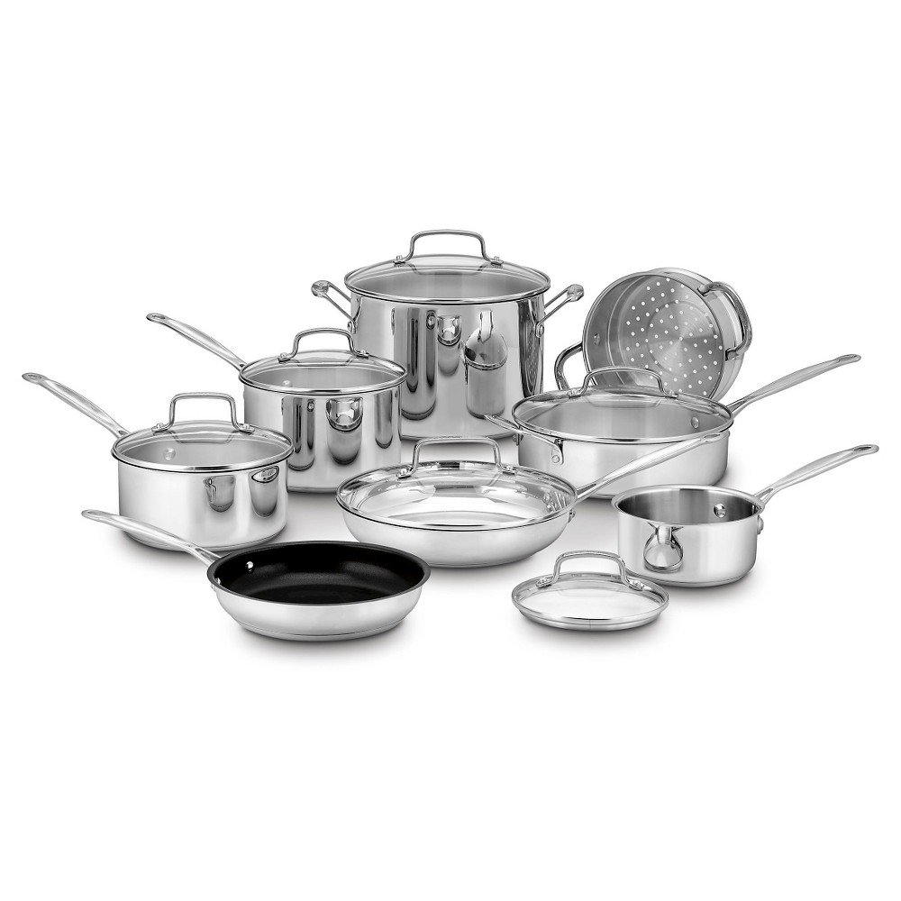 Cuisinart Chef's Classic Stainless Steel 14 Piece Cookware Set w/cover - 77-14N, Silver