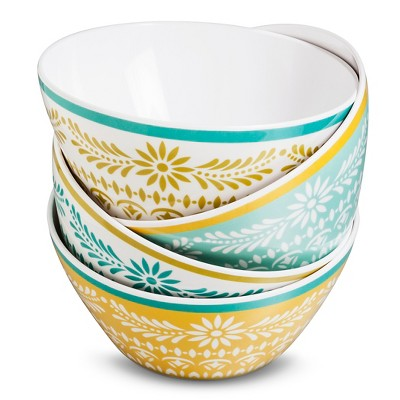 Boho Boutique Melamine Bowls 26oz - Marika Floral Blue/Gold - Set of 4
