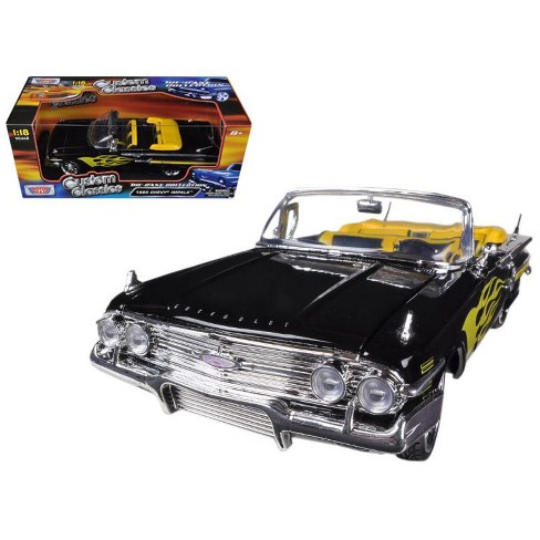 1960 Chevrolet Impala Black With Flames Custom 1/18 Diecast Model Car by Motormax - image 1 of 1