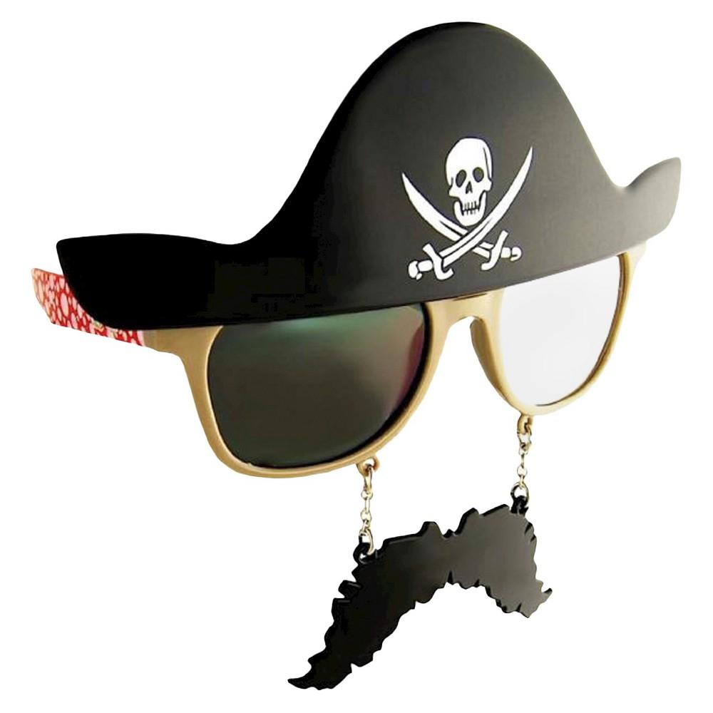 Sunstache Pirate Dark Lenses Black - One Size Fits Most, Adult Unisex