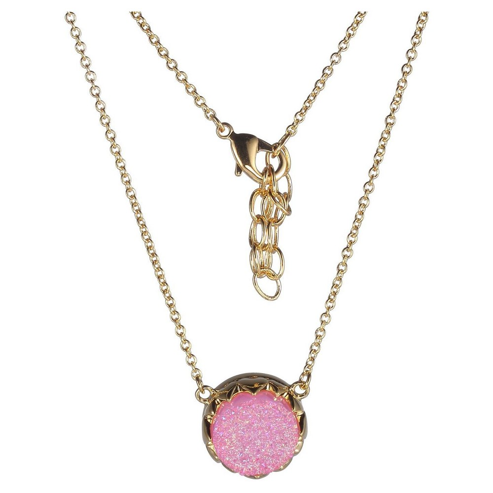 18k Gold Over Fine Silver Plated Bronze Genuine Pink Druzy Necklace - 16
