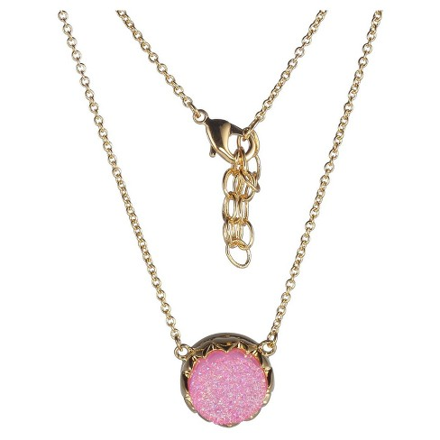 "18k Gold Over Fine Silver Plated Bronze Genuine Druzy Necklace - 16"" + 2"" Extender - image 1 of 1"