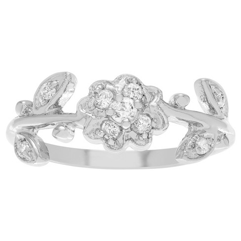 b6744054b T.W. Round-cut Cubic Zirconia Flower Leaf Accent Pave Set Ring in Sterling  Silver - Silver