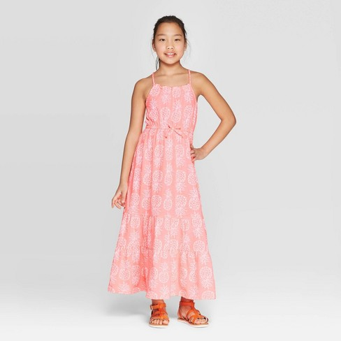 Girls' Knit Pineapple Print Maxi Dress - Cat & Jack™ Coral - image 1 of 3