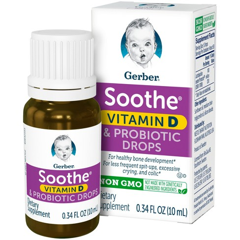 Gerber Soothe Vitamin D & Probiotic Drops - .34 fl oz - image 1 of 4