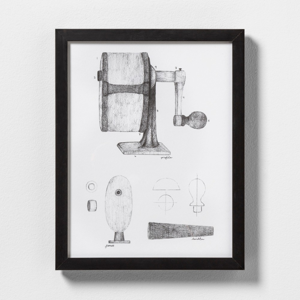 "Image of ""11"""" X 14"""" Pencil Sharpener Wall Art with Black Wood Frame - Hearth & Hand with Magnolia"""