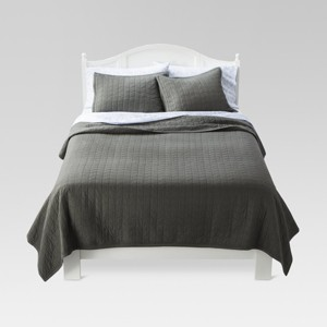 Gray Vintage Washed Solid Quilt (Queen) - Threshold