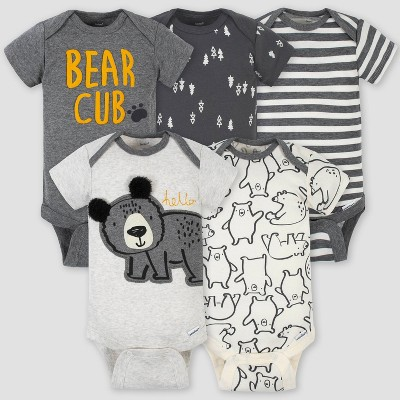 Gerber Baby Boys' 5pk Bear Short Sleeve Onesies - Gray/White 0-3M