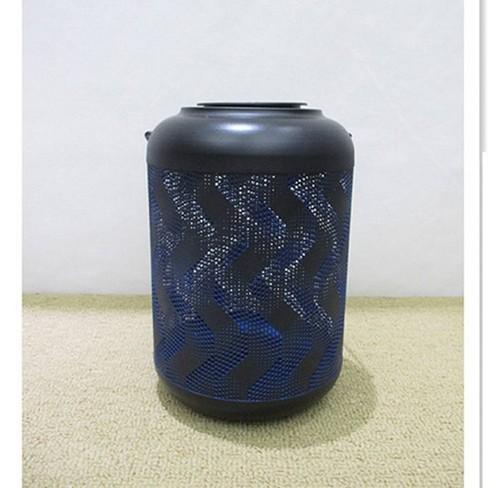 """9.06"""" Metal Solar LED Outdoor Lantern with Wave Design Black/Blue - Hi-Line Gift - image 1 of 2"""