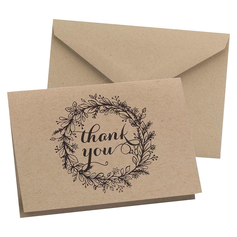 Krafty Thank You, Beige, Cards and Card Packs Kraft thank you cards with floral wreath design in black. Kraft envelopes included. 4 7/8  x 3 1/2  (folded). Package of 50 cards and envelopes. Color: Beige.