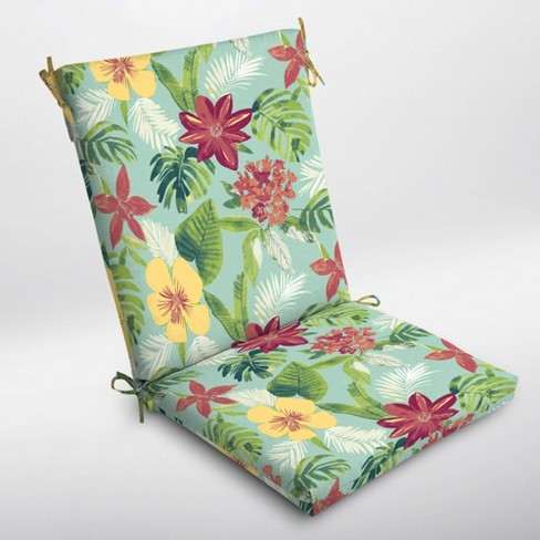 Elea Tropical Clean Finish Outdoor Chair Cushion Aqua - Arden Selections - image 1 of 2