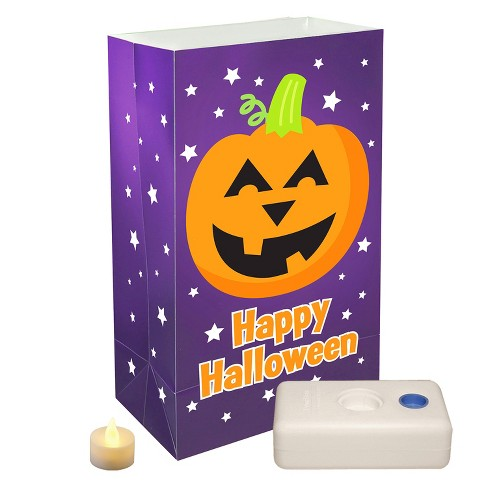 "12ct Battery Operated Luminaria Kit ""Pumpkin"" LED Candle Purple/Orange - LumaBase - image 1 of 2"
