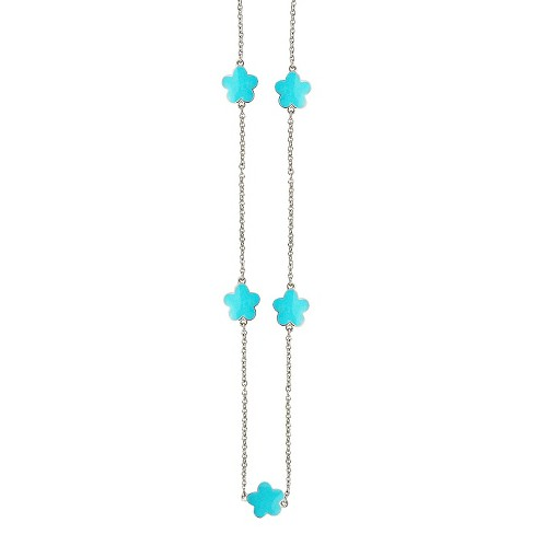 "Zirconite Rhodium Plated Station Necklace with Enameled Daisies Turquoise - 40"" - image 1 of 2"