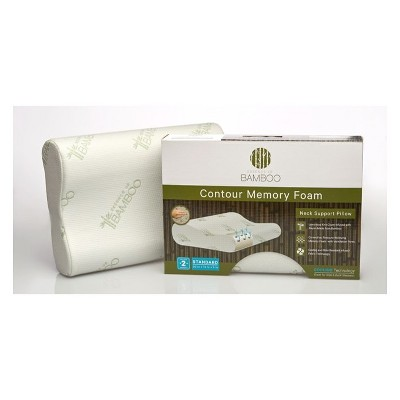 Essence of Bamboo Standard Rayon Infused Contour Memory Foam Pillow White