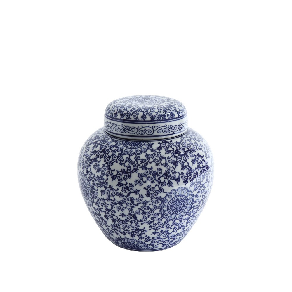 12 x 10.5 Decorative Stoneware Ginger Jar With Lid Blue/White - 3R Studios