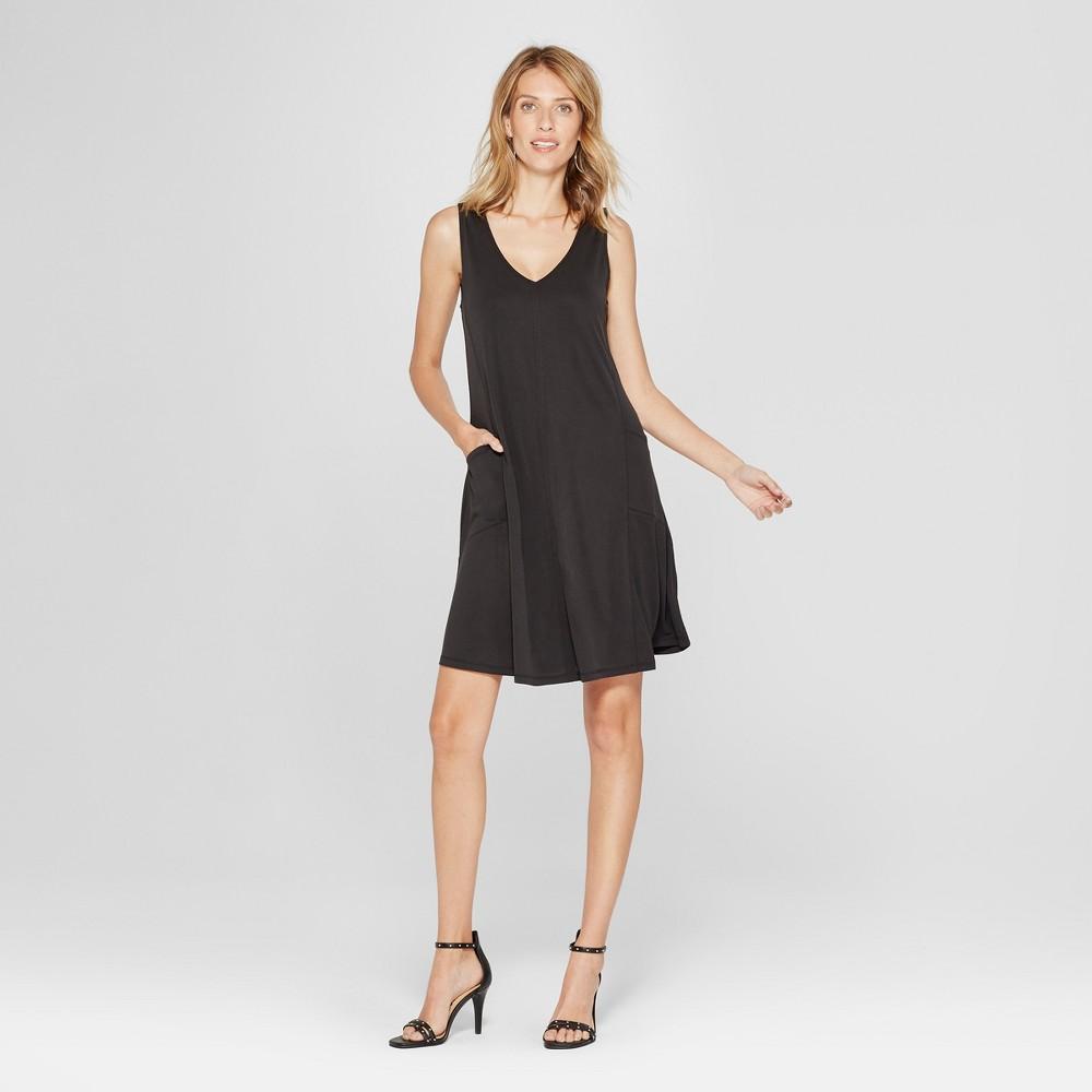Women's Cupro Side Pocket Swing Dress - Spenser Jeremy - Black M