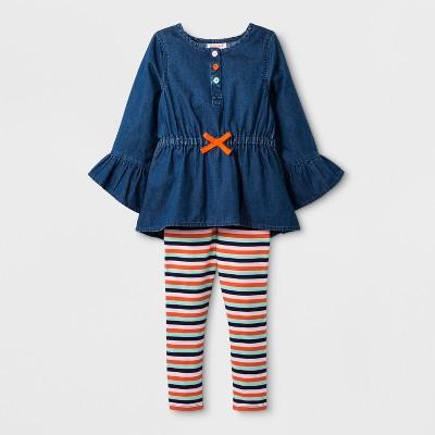 Toddler Girls' Denim Top and Stripe Bottom Set - Cat & Jack™ Blue 12M