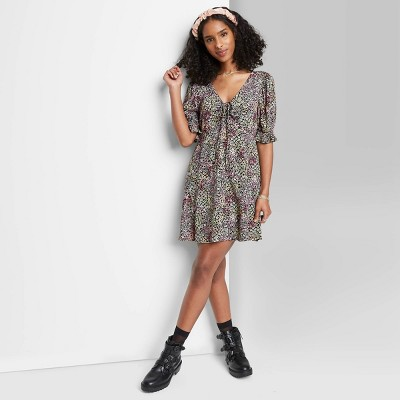 Women's Puff Short Sleeve Tie-Front Dress - Wild Fable